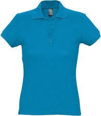 <b>Рубашка поло женская PASSION</b> 170 ярко-бирюзовая, размер XXL