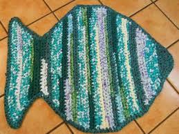 blue rag rug large fish 1 green