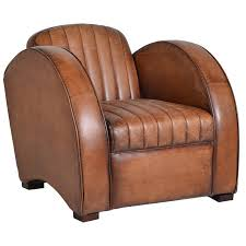 art deco style chair intaged tan leather