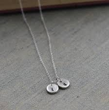 double initial sterling silver necklace silver letter pendant oodlique