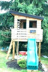 free elevated playhouse plans swing set wooden diy playset
