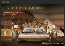 Italian luxury bedroom furniture Handcrafted Italian Luxury Bed French Rococo Bedroom Furniture Solid Wood Carved Furniture With Gold Leaf Luxury Furniture Lighting Italian Luxury Bed French Rococo Bedroom Furniture Solid Wood
