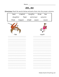 Printable worksheets for teaching students to read and write basic words that begin with the letters br, cr, dr, fr, gr, pr, and tr. Aw Au Diphthong Worksheet Have Fun Teaching