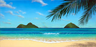 paradise rainbow tropical beach painting