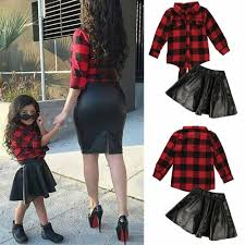details about 2pcs toddler kids baby girls plaid shirt tops leather skirt outfits clothes sets