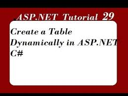 create a table dynamically in asp net
