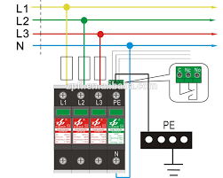 60ka class i three phase n pe power supply surge protection device wiring diagram 60ka class i three phase n pe power supply surge protection device