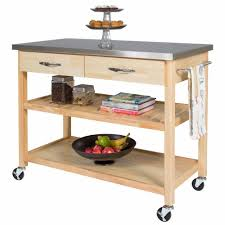 Home Styles Natural Designer Utility Cart Natural Wood Kitchen Island Cart W Stainless Steel Top