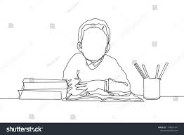 one line drawing of young boy elementary student reading the book beside stack of books
