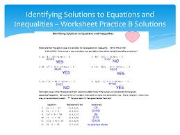 12 identifying solutions to equations and inequalities worksheet practice b solutions
