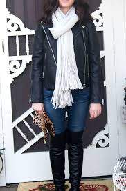 candace rose anderson can black leather moto jacket leopard print clutch over the knee boots free