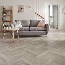 Karndean Knight Tile Grey Limed Oak Laid In Herringbone Pattern