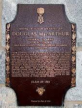douglas macarthur a bronze plaque an image of the medal of honor inscribed macarthur s medal