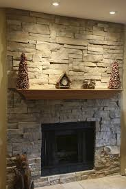 Majestic Stone Veneer Fireplace With Nice Wooden Mantel Featuring Recessed  Lighting