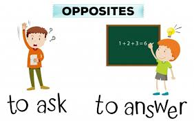 Opposite wordcard for ask and answer Vector | Free Download