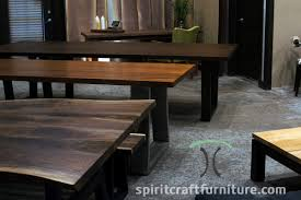 black walnut and sapele live edge and thick slab dining tables on wooden and stainless tzoid