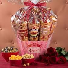 valentine s 12 cone popcorn gift basket at last a gift of love to