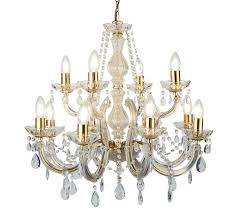 searchlight marie therese 12 light chandelier polished brass finish with barley twist arms crystal glass trim 699 12