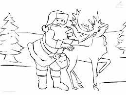 Kleurplaat Kerst Rendier Kerstman En Zijn Rendier