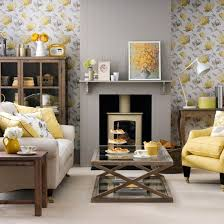 grey furniture living room ideas. grey and yellow floral wallpaper a fireplace panel chair pillows furniture living room ideas n