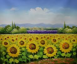 hand painted canvas painting beautiful flower oil painting modern sunflower farm landscape wall picture painting for