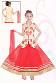 Red Net Dress Design Cream Red Net Designer Party Wear Kids Dress