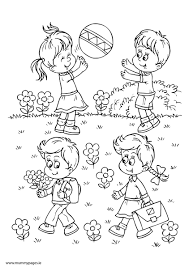 Small Picture Boy girls playing in summer Colouring Page MummyPages