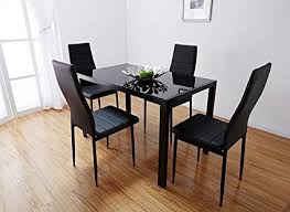 black dining room furniture sets.  Room Bonnlo Modern 5 Pieces Dining Table Set Glass Top And Chair  For 4 On Black Room Furniture Sets