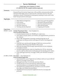 Supervisor Resume Examples Typical Retail Supervisor Cv Sample Best Loss Prevention Supervisor 9