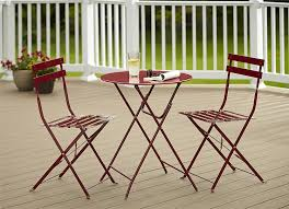 folding patio furniture set. amazon.com: cosco 3-piece folding bistro-style patio table and chairs set, red: kitchen \u0026 dining furniture set r