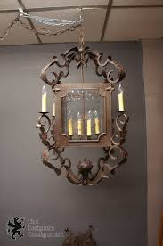 arte de mexico 40 hand forged iron carriage lantern chandelier 8 light rustic