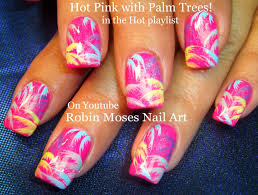 Hot Pink Palm trees Nail Art Rainbow Nails! DIY Nail Design ...