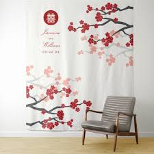 Cherry Blossom Backdrop Red Cherry Blossoms Chinese Wedding Photo Backdrop