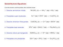 solubility ionic equations cover the answers work the problem then check the answer