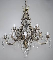 italian eight light wrought iron crystal chandelier