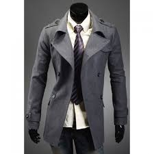 fashion style turndown collar double ted long sleeves woolen black trench coat for men