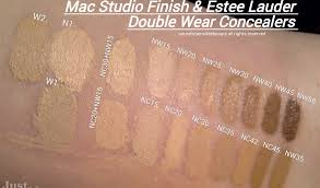 mac on the right is estee lauder double wear stay in place high cover concealer w1 make up