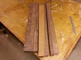 walnut cherry dining:    walnut for the chair legs i set aside and laminated pieces for the table legs you can see the pattern in the middle each triple laminated blank