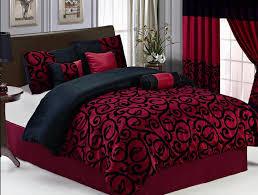 burgundy and black velvet comforter bed set | 19 PC Burgundy Black  Comforter Curtain Sheet Set