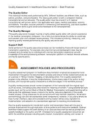 Health Care Documentation Quality Assessment And Management
