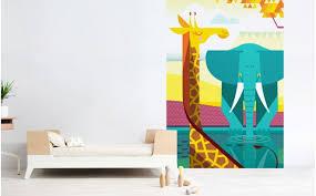 Giraffe Elephant Savanna Kids Wall Murals