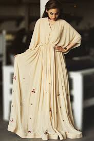 Cream Kaftan Style Gown With Sequins Embroidered Choker Neck Misani