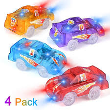 Led Light Toy Car Us 6 9 31 Off Track Cars Light Up Toy Cars With 5 Led Lights 4 Pack Replacement Race Cars Compatible With Dinosaur Tracks And Glow Tracks On