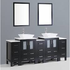 contemporary 84 inch double square sink bathroom vanity set with mirror
