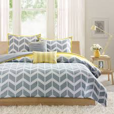 Bedroom:Master Bedroom Design With Grey Yellow Bedding Gray Quilt Yellow  Cushion And Gold Metal
