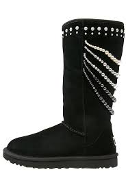ugg calais winter boots black women shoes uggs leather boots ugg mini