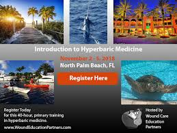 the open registration page for introductory course in hyperbaric medicine at wound care education partners clinical classroom in north palm beach fl