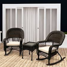 outdoor wicker rocking chairs with cushions. veranda 3 piece rocking chair set with cushions outdoor wicker chairs i