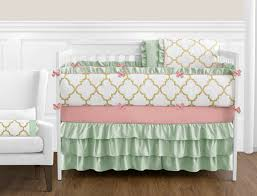 gold mint c and white ava baby bedding 9pc girls crib set only 189 99