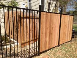 wrought iron privacy fence. Custom Wrought Iron Fence Transitioning Into Privacy Cedar O